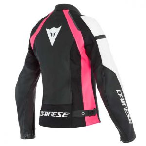 offerta outlet Giacca moto donna in pelle Dainese Nexus Leather Jacket in pelle bovina Nero Fucsia Bianco